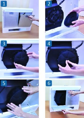 Процесс установки фильтра в вытяжку