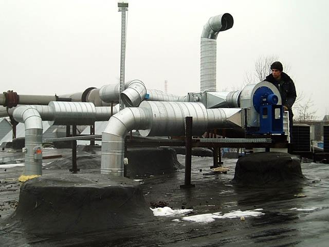 Принудительный тип вентиляции в промышленном здании
