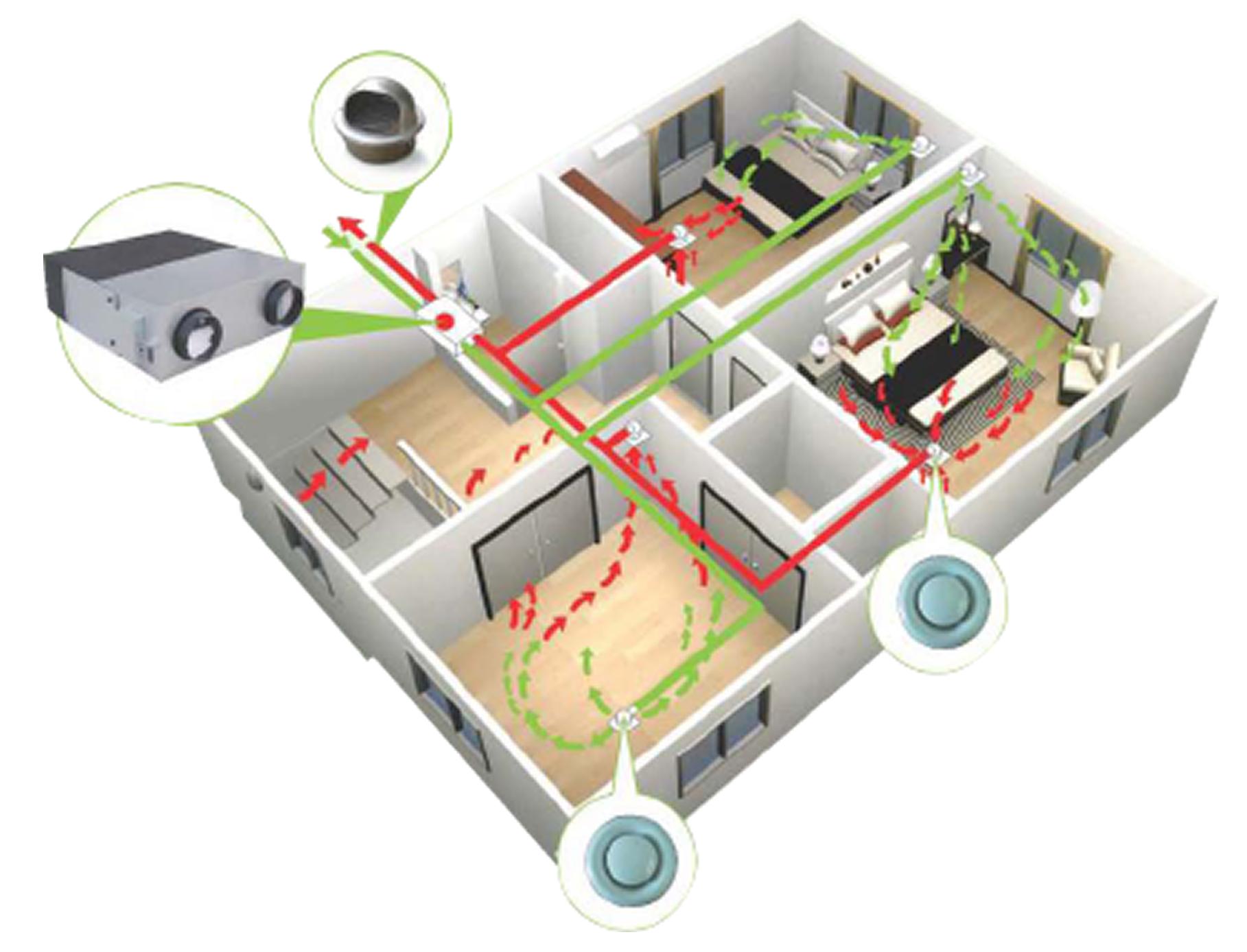 Вентиляционные клапаны установленные в коттедже