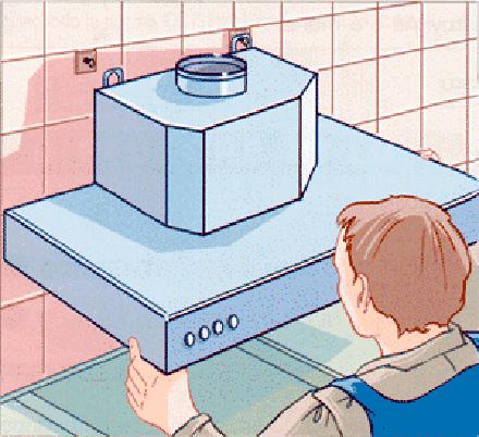 Монтаж вытяжного устройства на кухне